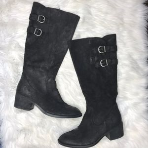 Born Bley Distressed Leather Buckle Boots